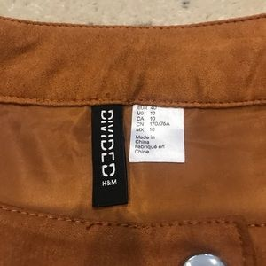 H&M Skirts - H&M | Faux Suede Tan Button Front Skirt | 10